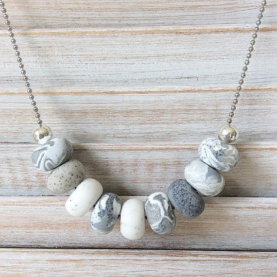 Shades of grey coloured necklace, polymer clay necklace, beaded necklace handmade by rubybluejewels
