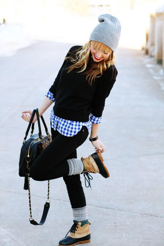 beanie + black pullover.