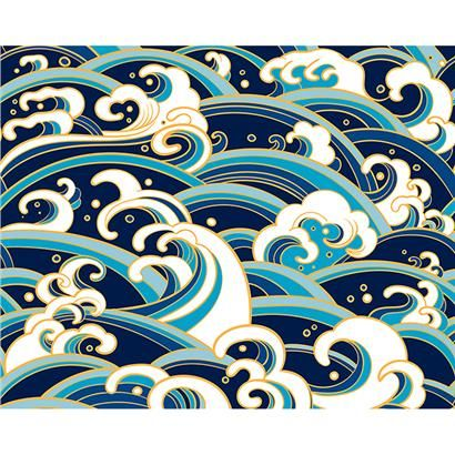 WALS0237 - Japanese Waves Wall Mural - by OhPopsi