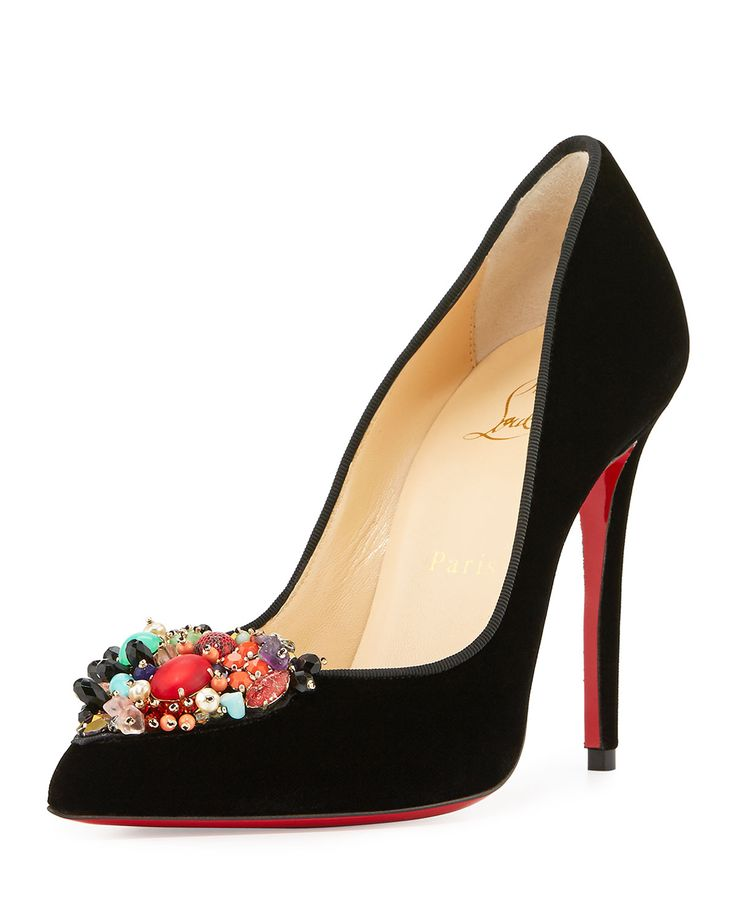 Diva Cora Velvet Red Sole Pump, Black/Multi by Christian Louboutin at Neiman  Marcus.