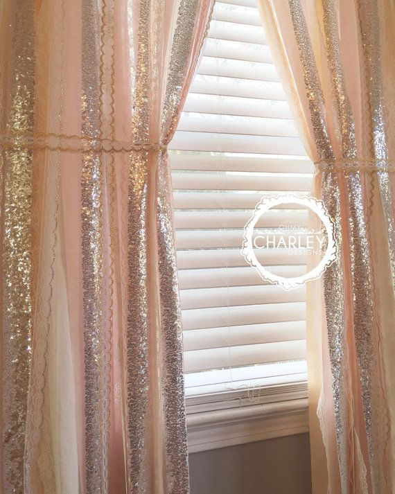 Blush, Peach, Nude, Rose Quartz with Silver Sparkle Sequin Garland Curtain - Lace - Nursery Decor, Curtain, Crib Garland, Window Treatment