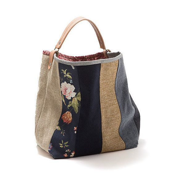 Bag Large bucket bag Rosemary, Canvas bag, Handbag, Shoulder bag, Top handle bag, Leather handle