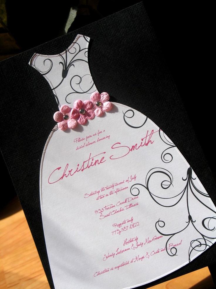 Flowered Bridal Shower Dress Invitation: Bridal Dress Die Cut Shower Invitation