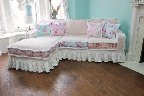 Shabby Chic Sectional Sofa Vintage Rose Chenille Bedspread