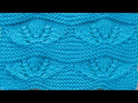 Узоры спицами - голубой ажурный узор - YouTube