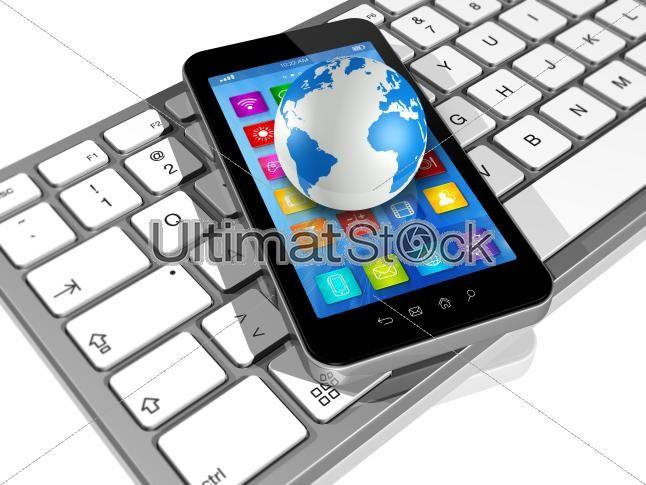 Smartphone on Computer Keyboard and World Globe