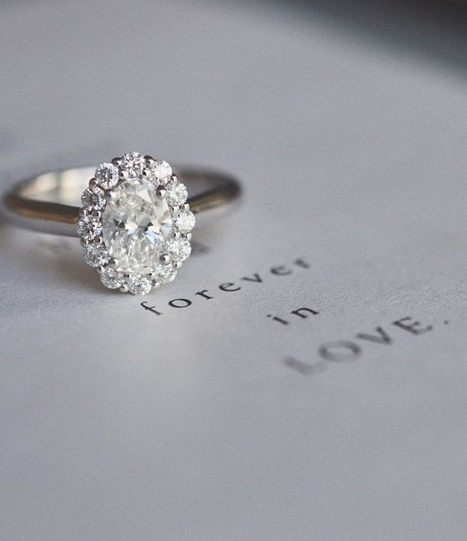 Forever in love.  Love the halo of small diamonds around the center!
