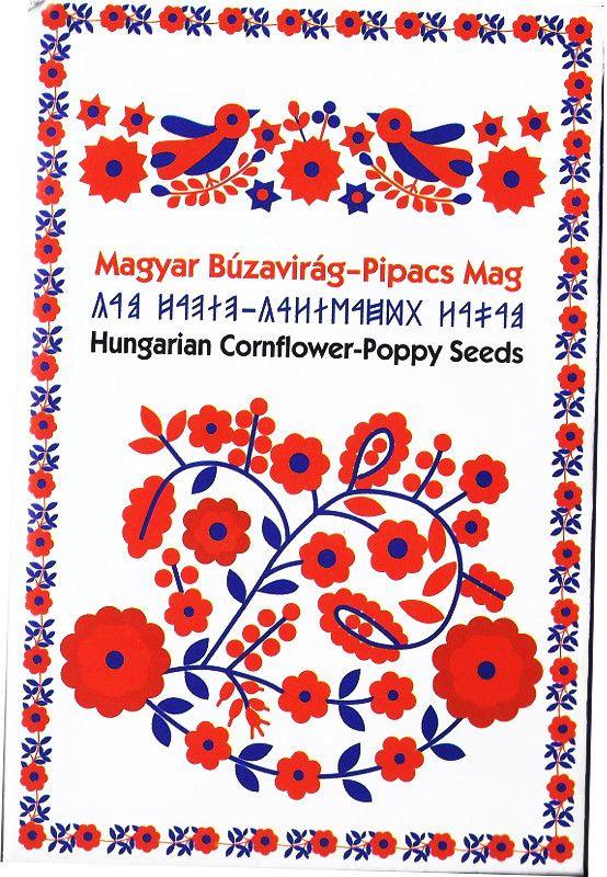 Magyar Búzavirág-Pipacs  Mag díszcsomagolásban - 5  csomag, Hungarian folk motiv, poppy