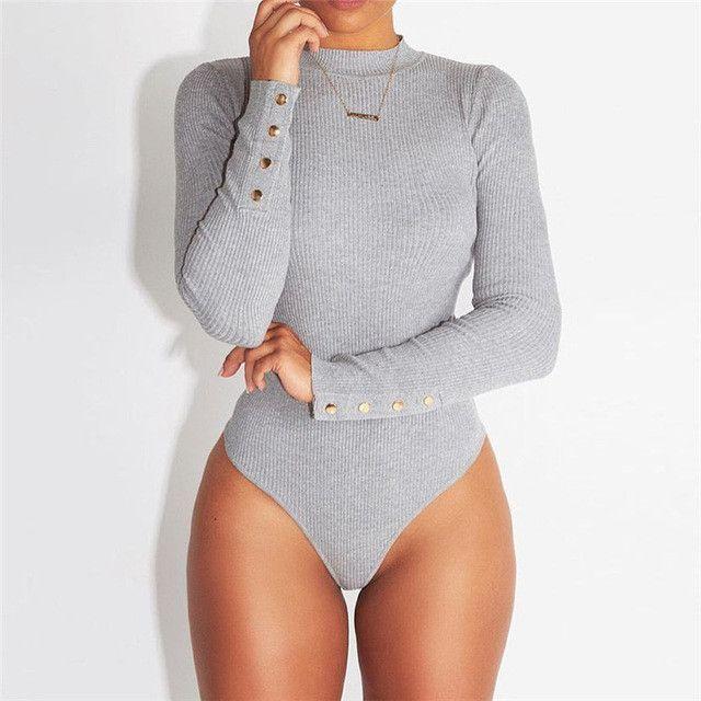 Hot sale bandage fitness bodysuit women turtleneck autumn winter bodysuits female body with long sleeves button bodycon jumpsuit