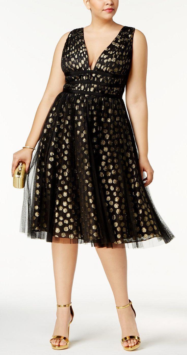 Plus Size Metallic Fit & Flare Dress - Plus Size Cocktail Party Dress