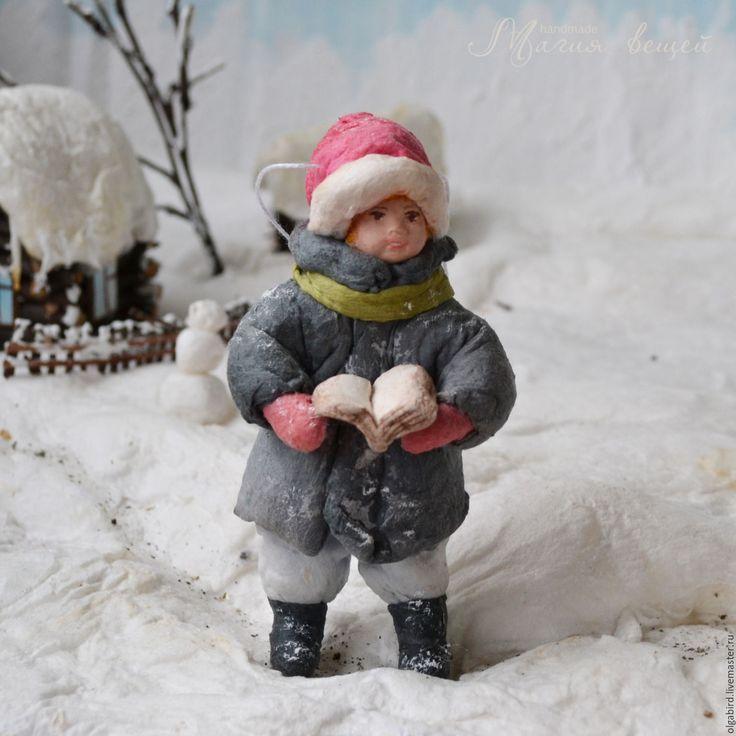 Купить Ватная елочная игрушка МАЛЬЧИК С КНИЖКОЙ - ватная игрушка, ватная елочная…