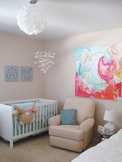 i love this nursery, especially the wall art.. @Brittany Horton Horton Moody Bass WHEN the time comes, I want you to make me something for the nursery.. (obv not needed now)