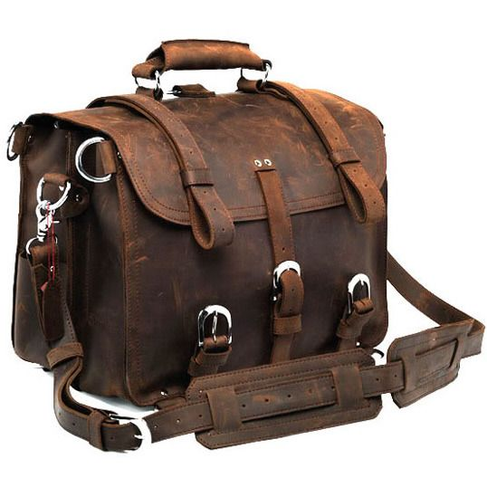 """This is a large leather bag for travel. It will inspire you to go somewhere!    All Hand Stitched.   Very rigorous finishes, excellent choice of leather and hardware for ensuring strength and longevity.   A truly one of a kind item.    Material: thick genuine Crazy Horse leather; cotton fabric lining; brass hardware    Dimensions:   W: 16.5"""" (42 cm)   H: 12"""" (30.5 cm)   D: 9.1"""" (23 cm)   shoulder strap length: 130cm      325.00"""