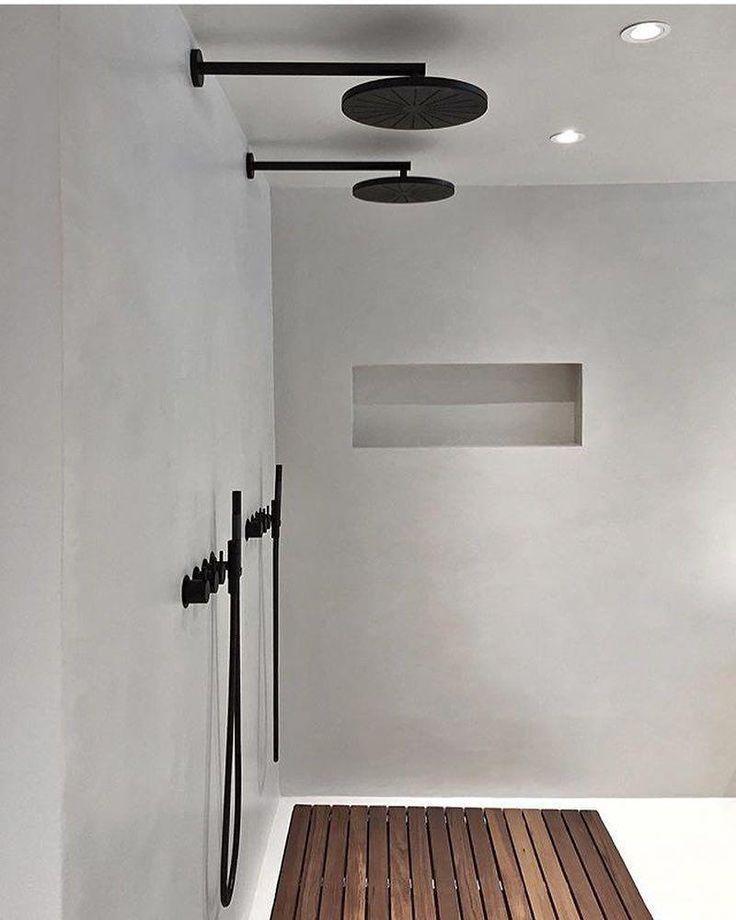Twin Matte Black Wall Outlet Overhead Showers With Round Rose Matte Black Micro Black Bathroom Concrete Tiles Bathroom Bathroom Shower Design