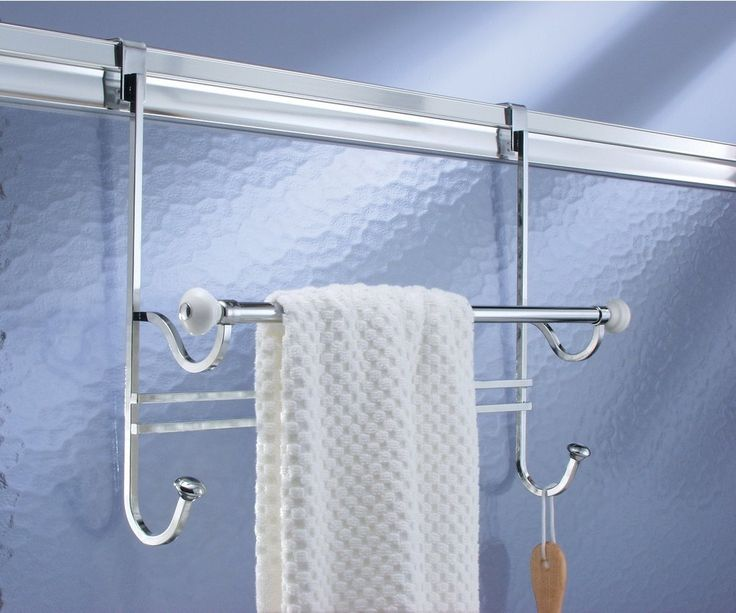 Amazonsmile Mdesign Bathroom Over Shower Door Towel Bar Rack With Hooks White