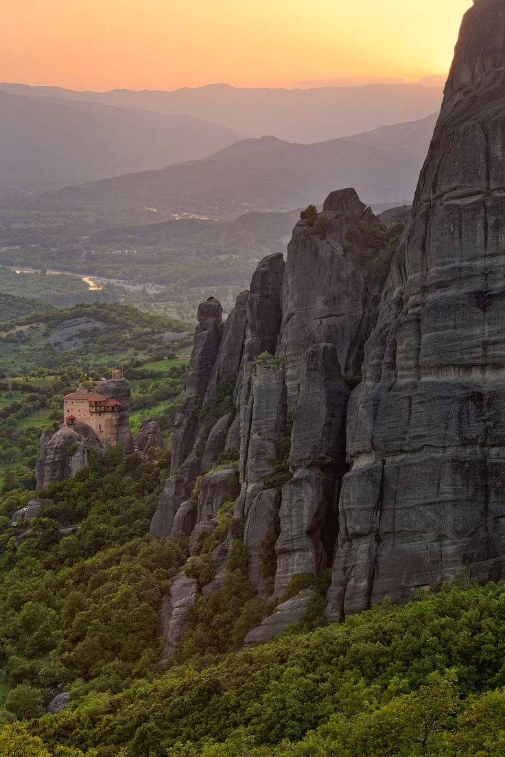 Holy Monastery of St. Nicholas Anapafsas, the smallest monastery at Meteora at sunset.
