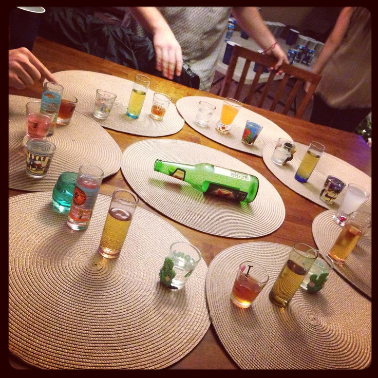 Spin the bottle! Shots filled with alcohol, water, soda... But mostly alcohol :)) #PartyIdea