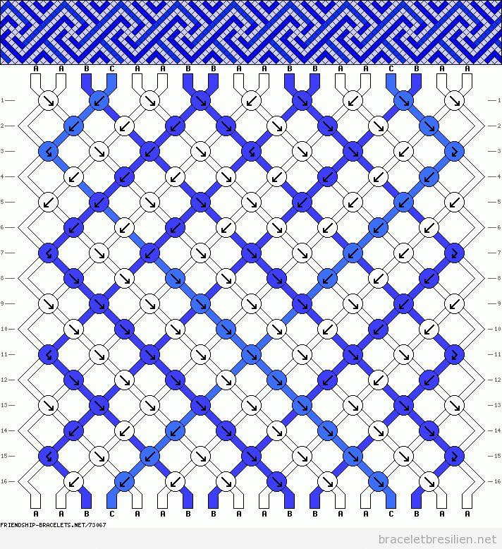 Modèle pour réaliser un bracelet de l\u0027amitié, modèle spirale carrée