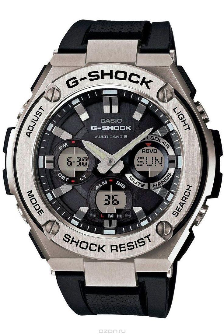 Часы мужские наручные Casio G-Shock, цвет: черный, стальной. GST-W