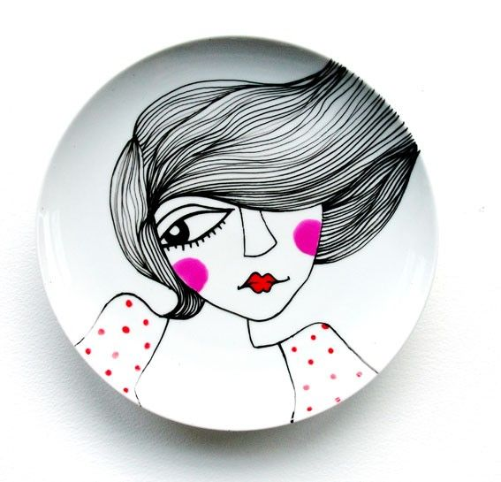 SWEET CHEEKS- handpainted original porcelain side plate. Try this with Porcelaine 150 paint from Pebeo: http://www.etsy.com/listing/63308832/sweet-cheeks-handpainted-original