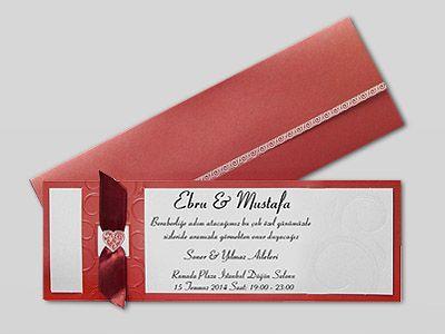Kırmızı Beyaz desenli davetiye çeşidimiz