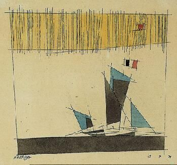 Sailing Ship,1933  Lyonel Feininger  American, 1871-1956 Watercolor and India ink on laid paper comp: 5-7/8 x 6 in. (14.9 x 15.2 cm); sheet: 7-1/2 x 7-3/4 in. (19.1 x 19.7 cm) Norton Simon Museum, The Blue Four Galka Scheyer Collection