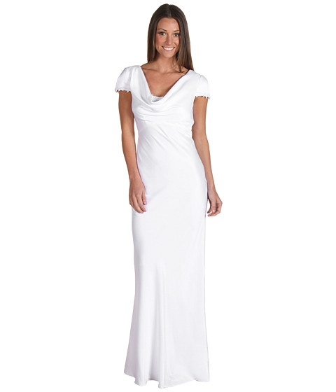 Calvin Klein Short Sleeve Gown White - 6pm.com