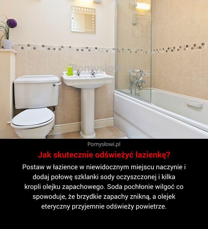 Postaw w łazience w niewidocznym miejscu naczynie i dodaj połowę szklanki sody oczyszczonej i kilka kropli olejku zapachowego. Soda pochłonie ...
