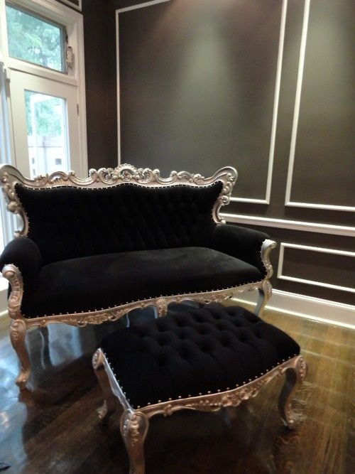 Gorgeous black Victorian love seat and stool