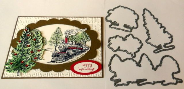 Lovely as a Tree dies by dave & stampin up ribbon use with traveler Christmas #stampinup