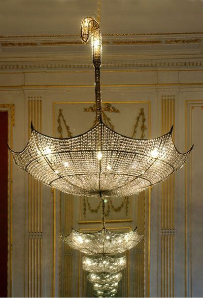 love this umbrella crystal chandelier