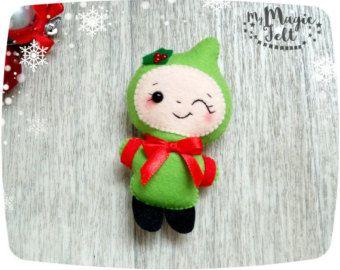Adornos navideños fieltro Navidad Angel Set de 2 por MyMagicFelt
