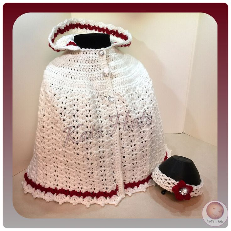 Long Crochet Hooded Baby Cape. Pattern Available from Justcrochet.  http://facebook.com/Kats.hats.1