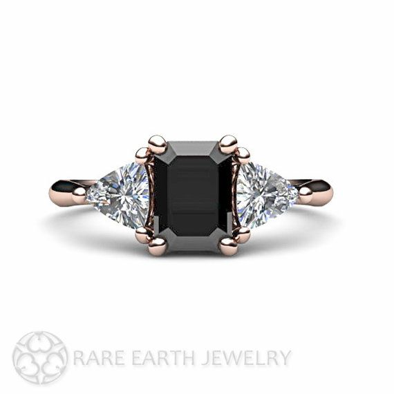 14K Black Diamond Engagement Ring Vintage Black Diamond 3 Stone Ring with Trillion Diamonds