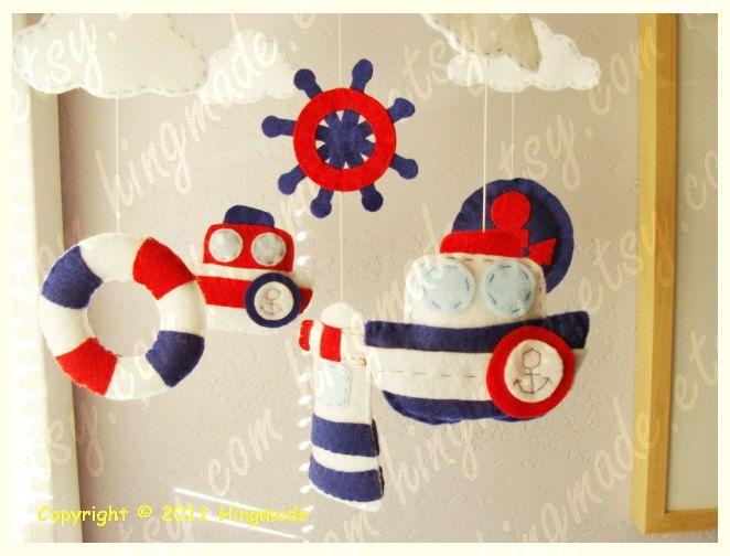 Baby Mobile - Nursery Mobile - Baby Crib Mobile - Handmade Felt Mobile - Hanging Mobile - Ocean Mariner theme(Custom color available). $88.00, via Etsy.