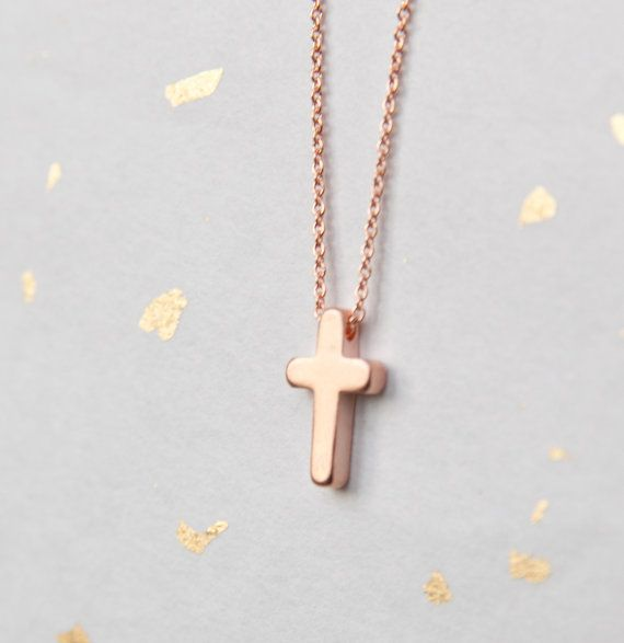 Dainty Rose Gold Cross  Rose Gold Cross Necklace  by adorn512, $36.00