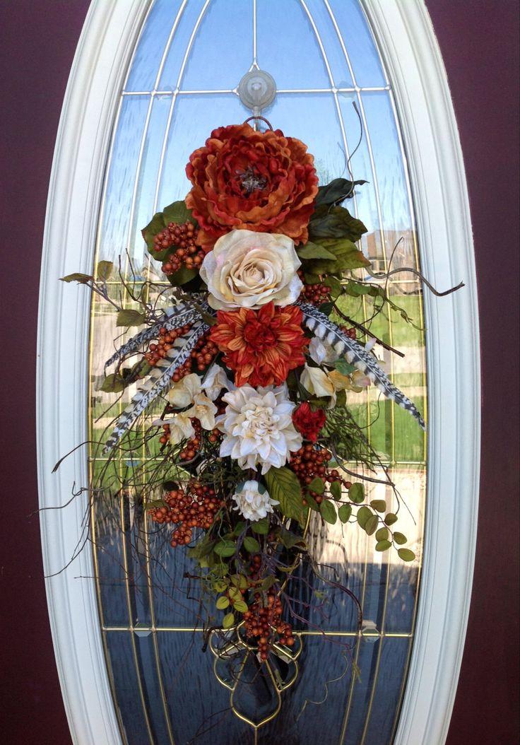 Spring Wreath Summer Wreath Teardrop Door Twig Swag Vertical Decor