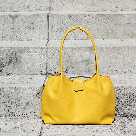 Soft leather tote bagyellow leather shoulder bagleather
