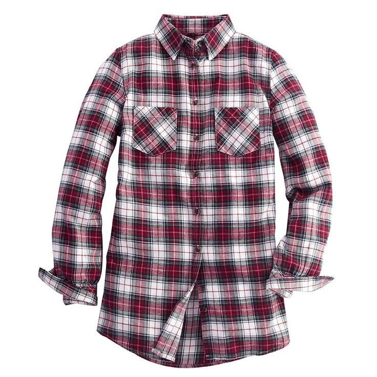 Long sleeve plaid flannel shirt for women plaid shirts Womens red tartan plaid shirt