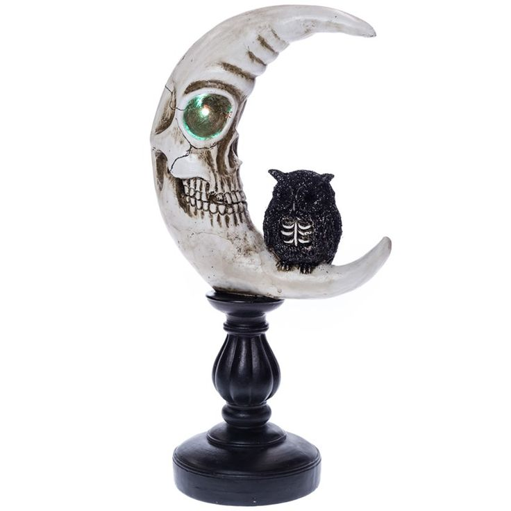 Light-Up Skeleton Moon with Owl Decor | Collections | Halloween - Cracker Barrel Old Country Store