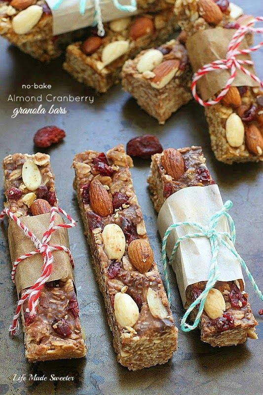 {Healthy} {No-Bake} Almond and Cranberry Granola Bars --- Easy to make in only ONE POT makes a healthy  satisfying snack.  NO butter  SUGAR-FREE  VEGAN and GLUTEN FREE with certified gluten free oats. NO food processor needed either. Best enjoyed straight from the fridge.