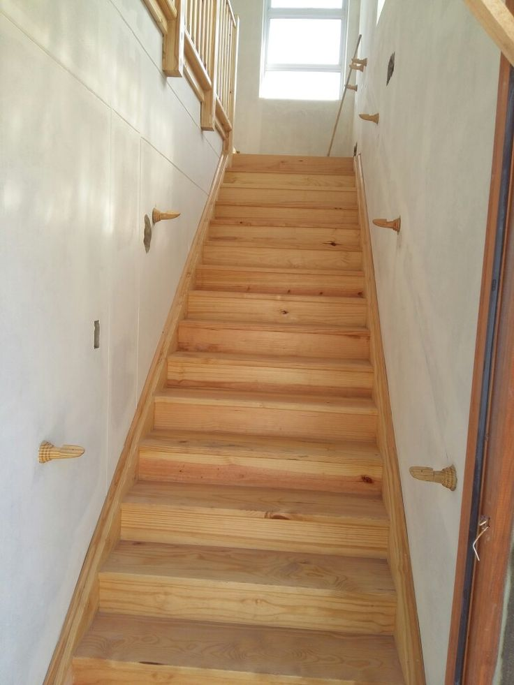 Pine staircase, railings and flooring in progress.