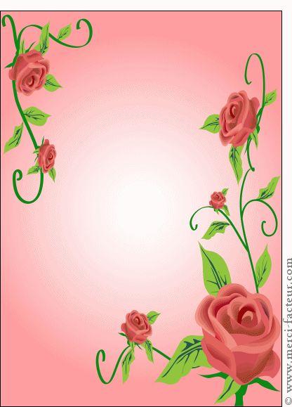 Carte Des rose qui encadrent la carte pour envoyer par La Poste, sur Merci-Facteur !