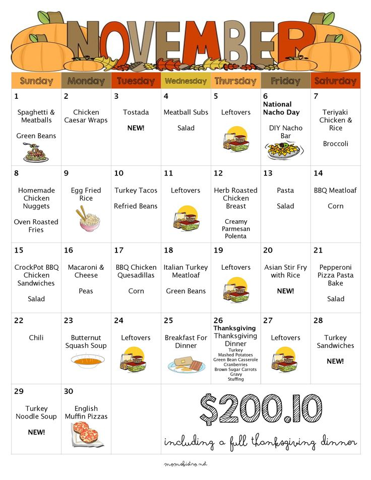 November Menu Free Printable Grocery List Thanksgiving Dinner Leftovers Kid-Friendly Recipes Weekly Grocery List Moms Bistro
