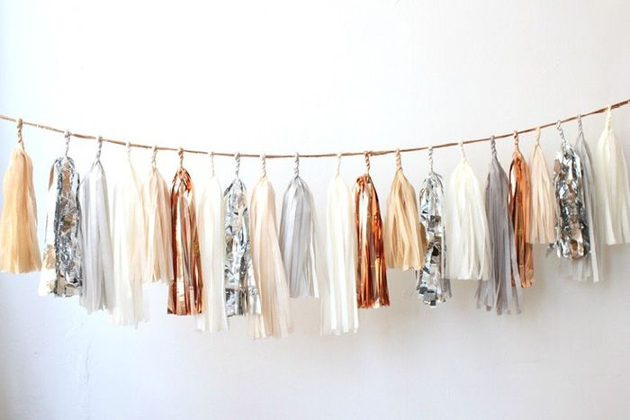 Silver and copper metallics included in this tassel garland