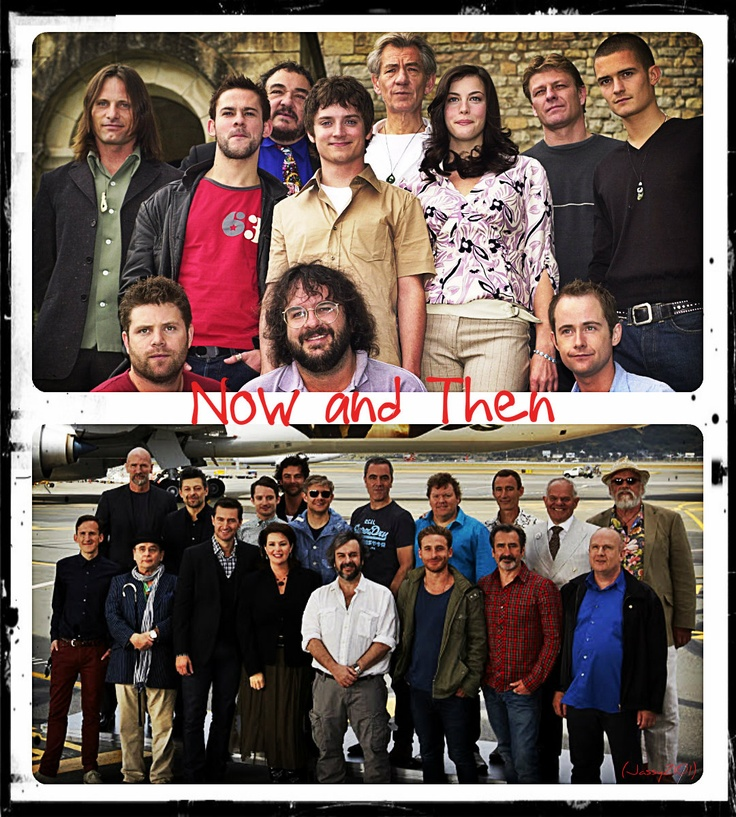 Cast of LOTR and THE HOBBIT. Haha the two tallest person of the cast are Thorin and Dwalin, and you'ld think they would be the shortest since they play dwarfs. I always think dwarves are normal sized until I see then next to elves.