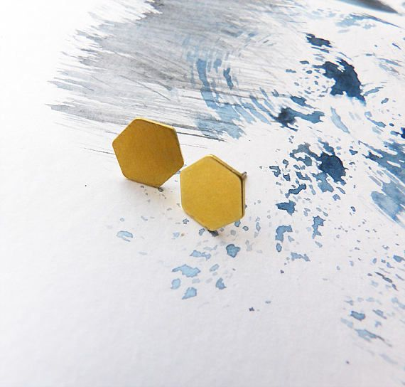 Hexagon Geometric Earrings Brass Honeycomb Earrings Studs