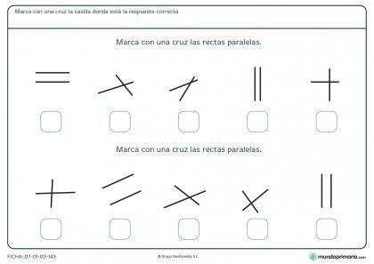 Ficha de rectas paralelas para 5º de primaria