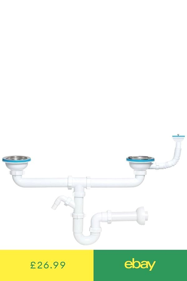 Double Kitchen Sink Drain Waste P Trap 115mm With Additional Overflow Diy Plumbing Septic System Double Kitchen Sink