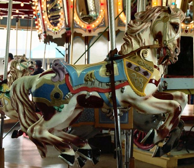 This Horse Is Named The Robert Bollinger Horse And Displays His Initials REB On Front Shoulder - Western Washington State Fair Carousel PTC Outside Row Jumper - Bob Bollinger owner of this PTC #43 and also Oaks Park Amusements in Portland OR donated this one of a kind portable carousel to the Western Washington Fair, Puyallup, WA  in 1966.